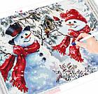 Алмазна вишивка веселі сніговики 30х40 см, повна викладка, квадратні стрази, фото 2