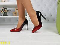 Туфли лодочки омбре черные с красным на красной подошве, фото 1