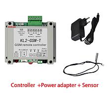 GSM реле двоканальне KL-2-GSM-T з датчиком температури на 220В (9-12В)