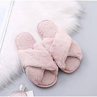 Тапочки домашние женские комнатные. Теплые меховые тапки  36-37 р. (розовые)