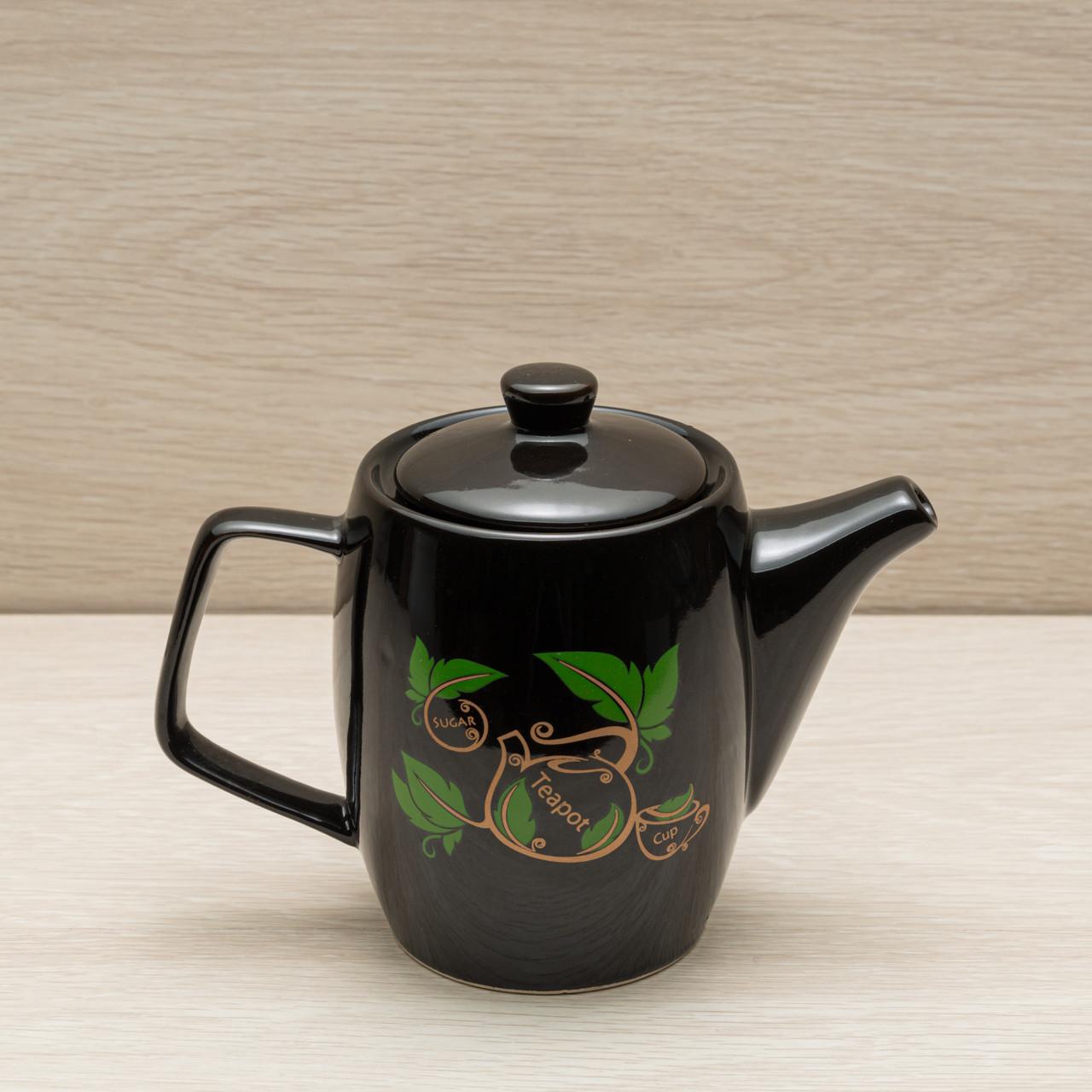 Чайник заварочный чёрный, 0,6 л, деколь