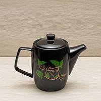 Чайник заварочный чёрный, 0,6 л, деколь, фото 1