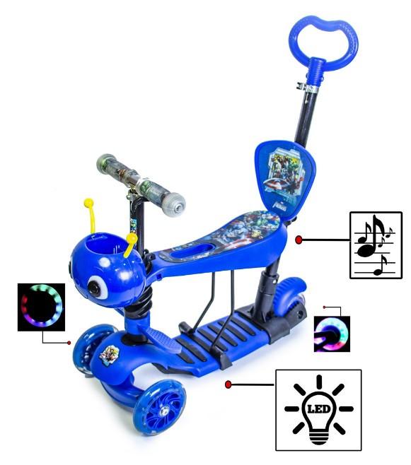 Самокат беговел scooter с родительской ручкой, светом и музыкой 5в1 синий. Пчелка. Герои.