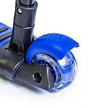 Самокат беговел scooter с родительской ручкой, светом и музыкой 5в1 синий. Пчелка. Герои., фото 3