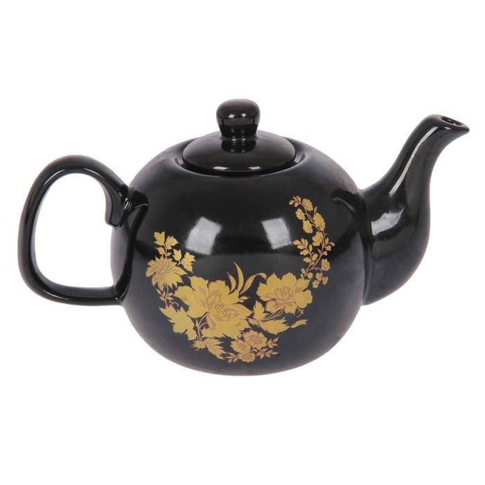 Чайник заварочный черный, 0,5 л, деколь