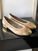 Туфли - балетки на маленьком каблучке на широкую ногу бренд davide tate