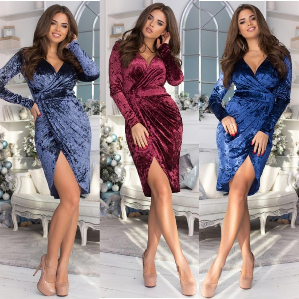 Платье женское футляр, велюровое, нарядное, вечернее, модное, повседневное, с разрезом, эффектное