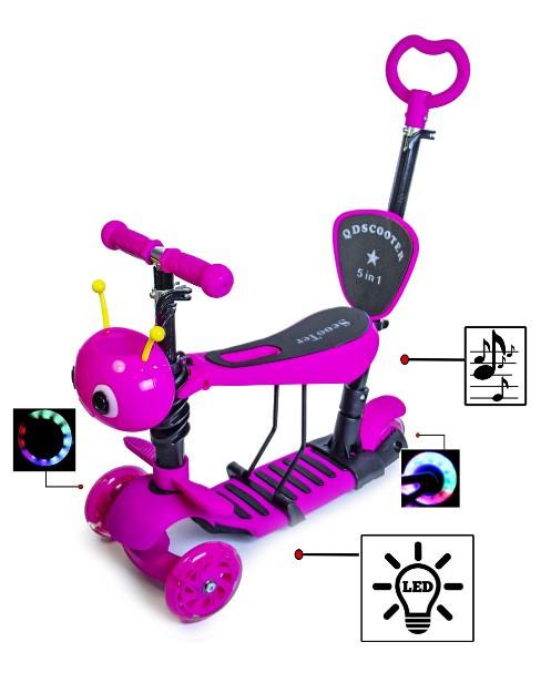 Самокат 5 в 1 с родительской ручкой сиденьем светом музыкой розовый