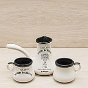 Кофейный набор турка 0,2 л и 2 чашки 0,1 л белый деколь