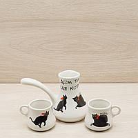 Кофейный набор турка 0,2 л и 2 чашки 0,1 л белый коты, фото 1