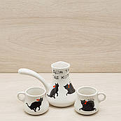 Кавовий набір турка 0,2 л та 2 чашки 0,1 л білий коти