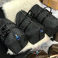 Брендовая дорожная сумка Louis Vuitton Луи Виттон серая клетка шахматка