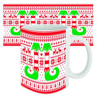 Чашка с принтом новогодняя Носки эльфа