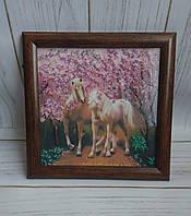 """Вышитая картина для интерьера """"Влюбленные лошадки"""""""