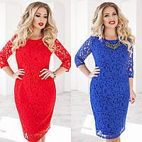 Платье женское, гипюровое на подкладке, большого размера, повседневное, офисное, нарядное, модное, до 54 р-ра, фото 1