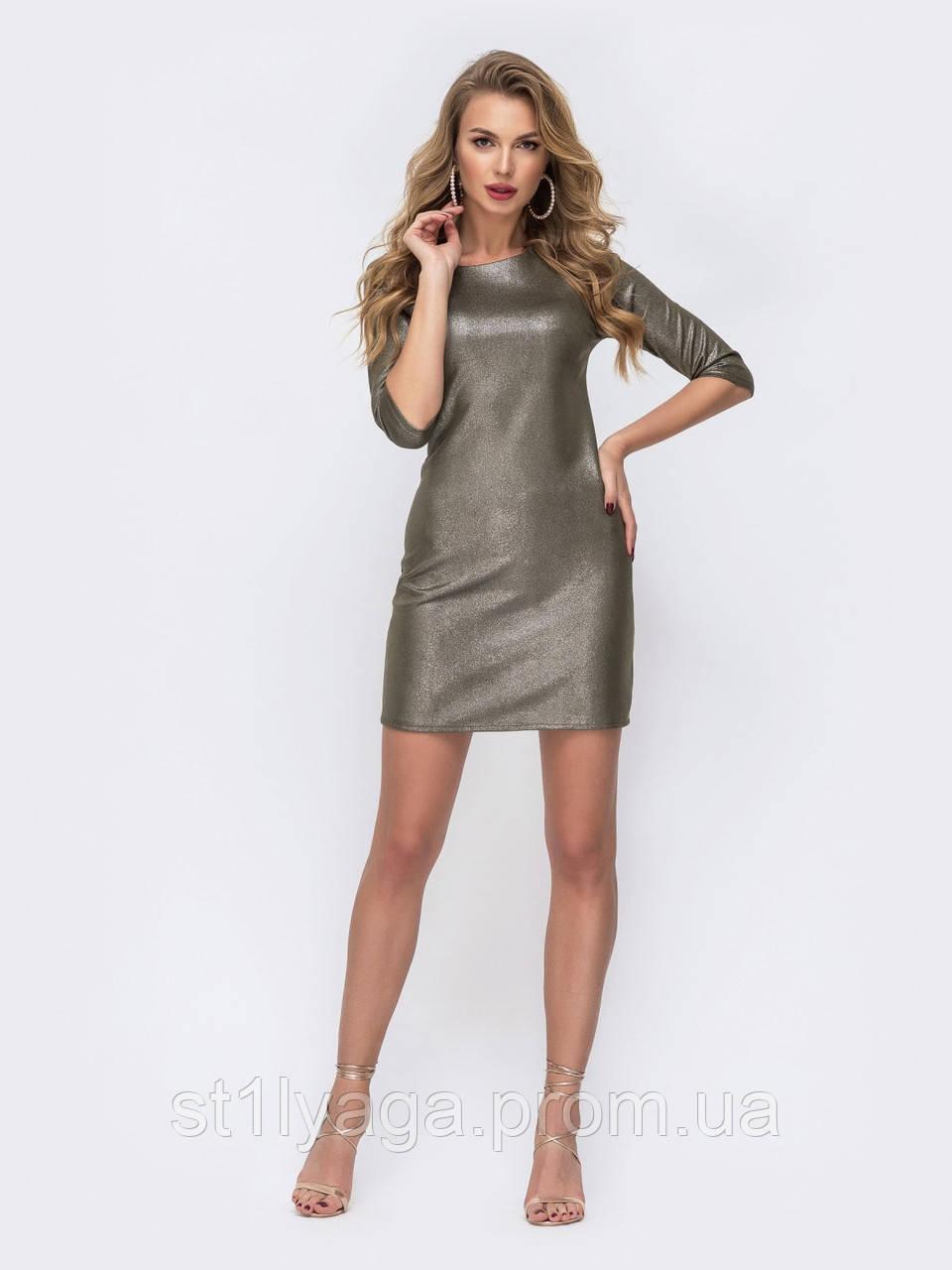 Платье-мини приталенного силуэта с рукавом три четверти цвет хаки