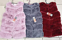 Довгий хутряний жилет на гачках для дівчинки оптом. 6 смуг (150-180р), фото 1