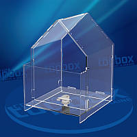 Ящик для пожертвований Домик (с карманом для буклетов) 150x200x155 мм, объем 3,5 л.