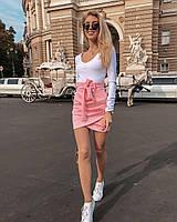 Стильная замшевая мини юбка с имитацией запаха под пояс, фото 1