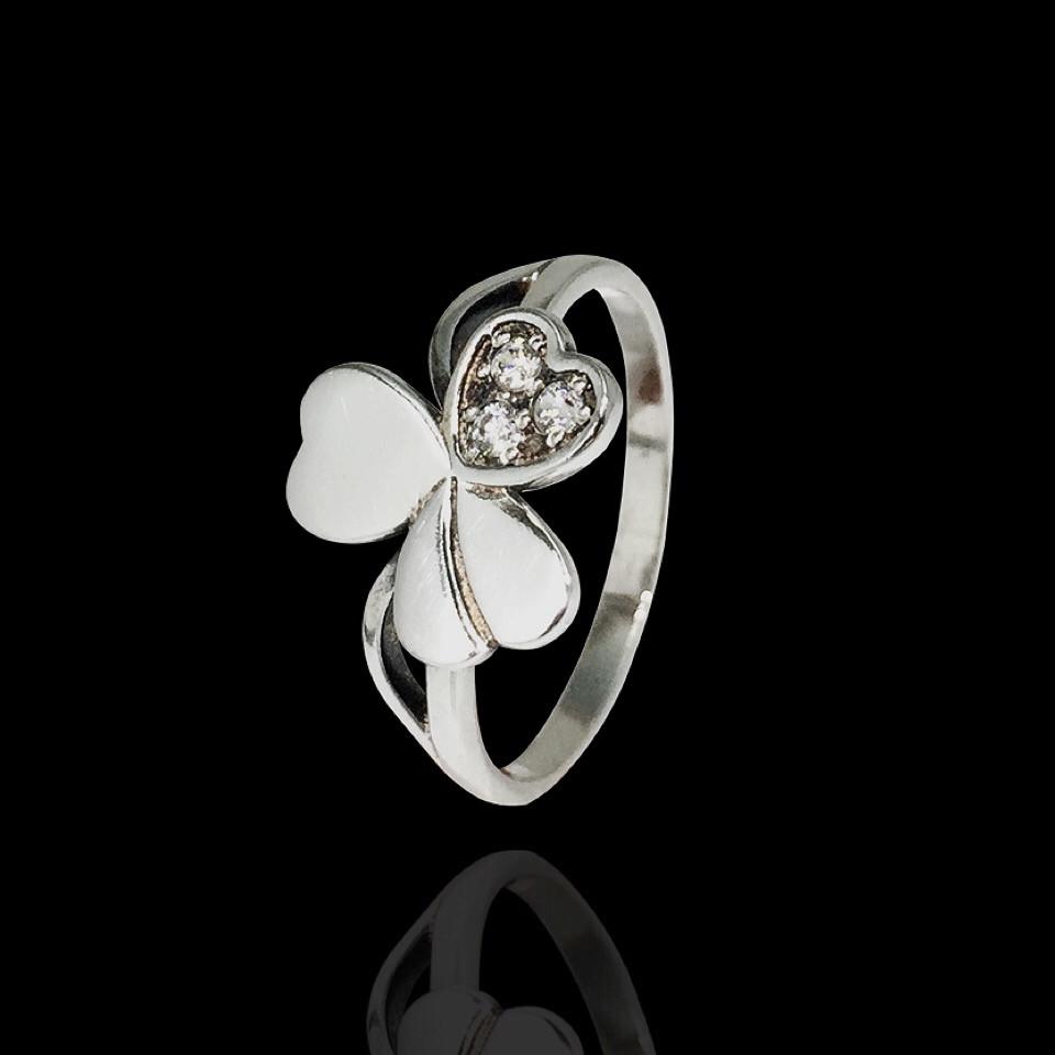 Серебряное кольцо в форме клевера