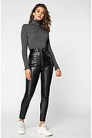 Женские теплые кожаные брюки /черные, 42-46, PF-3123/