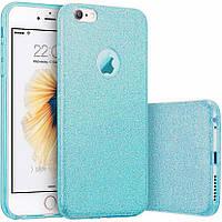Чехлы Twins Чехол силиконовый 3in1 Блёстки для iPhone 6 Blue (17114)