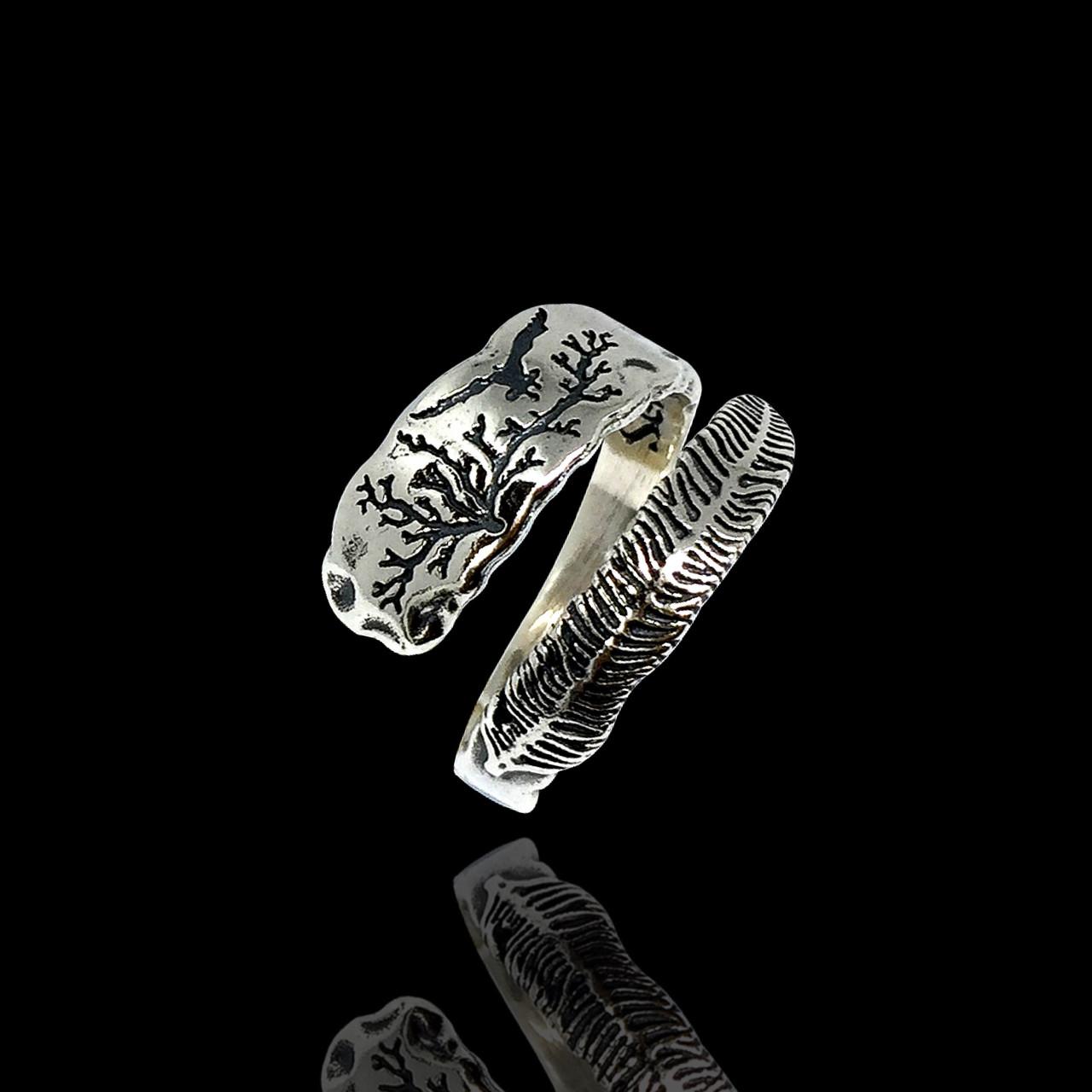 Серебряное кольцо Перо универсального размера, Selenit, 12092