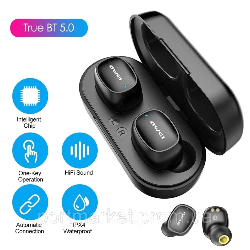 Наушники сенсорные Awei T13 черные с блоком для зарядки беспроводные Bluetooth наушники