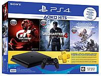 Игровая приставка Sony PlayStation 4 Slim 1TB + Gran Turismo Sport + Uncharted 4 + Horizon Zero Dawn консоль, фото 1