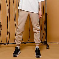 """Теплые мужские зимние спортивные штаны """"Сектор"""" бежевые с белыми полосками - размер XS"""