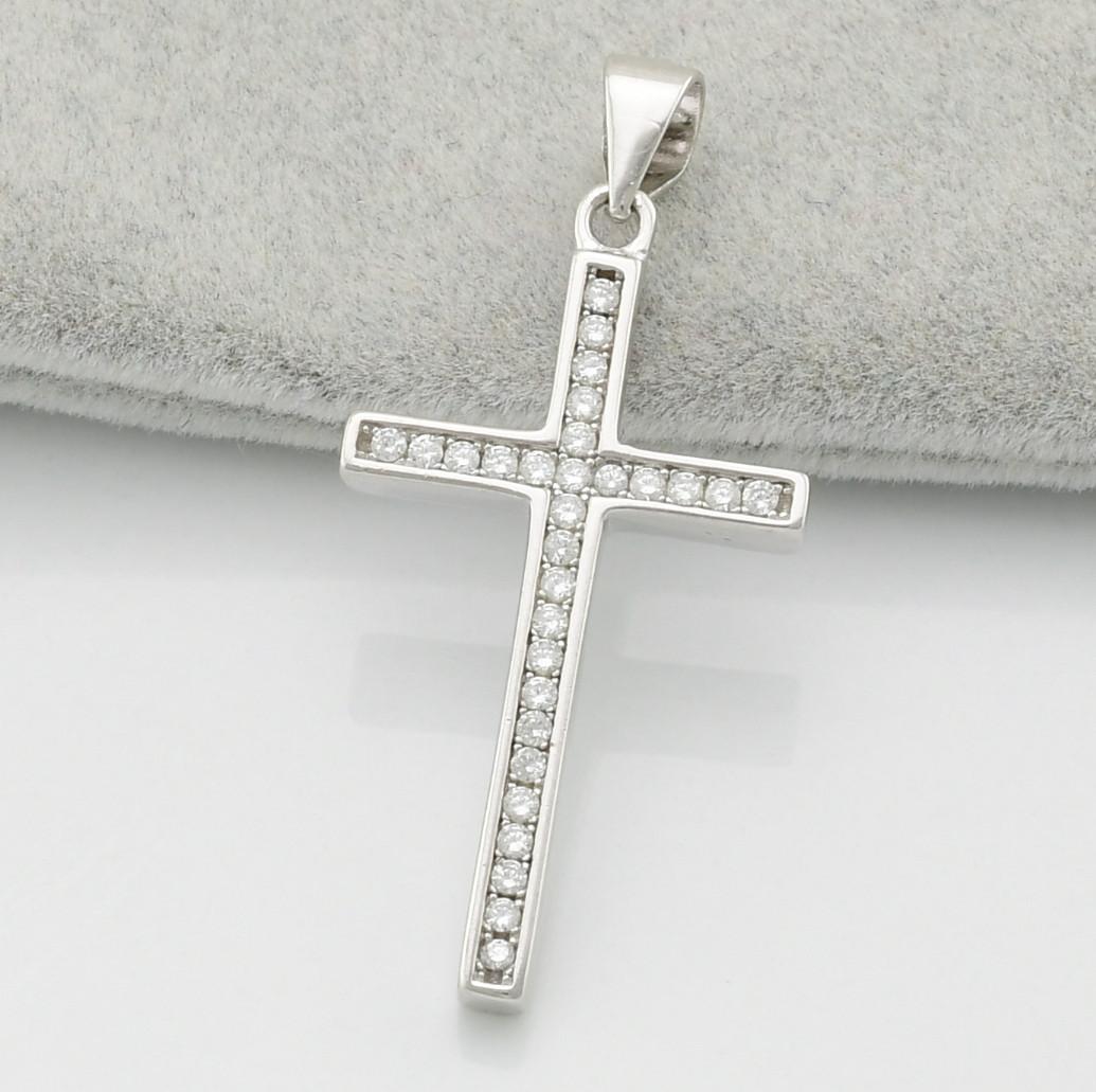 Серебряный крест ТС540122 размер 36х17 мм вставка белые фианиты вес 3.1 г
