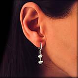 Серебряные длинные серьги-подвески Птички, фото 2