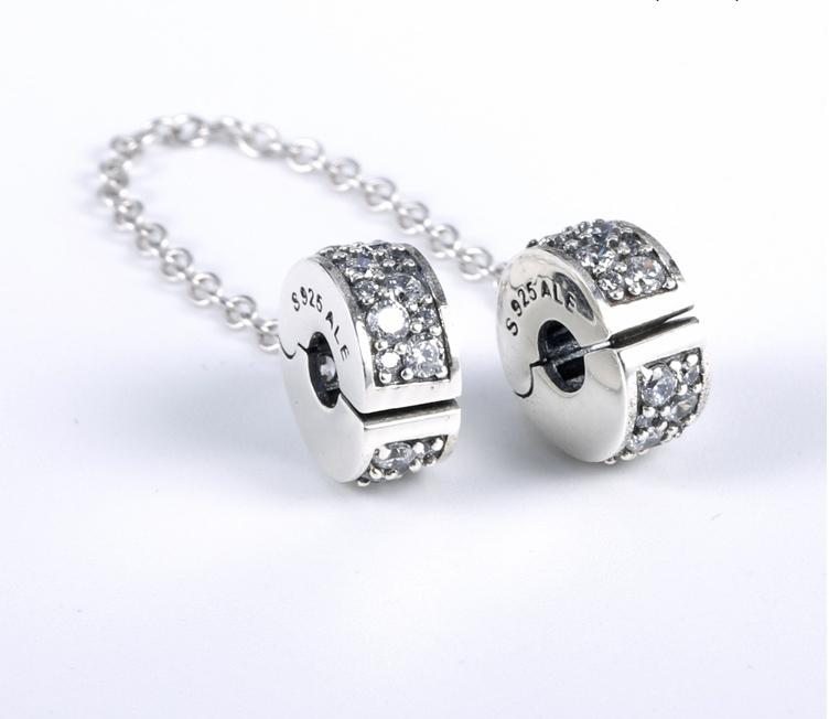 Серебряная защитная цепочка-клипса Пандора