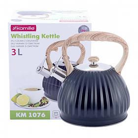 Чайник 3 л Kamille из нержавеющей стали со свистком и нейлоновой ручкой серый мрамор КМ-1076