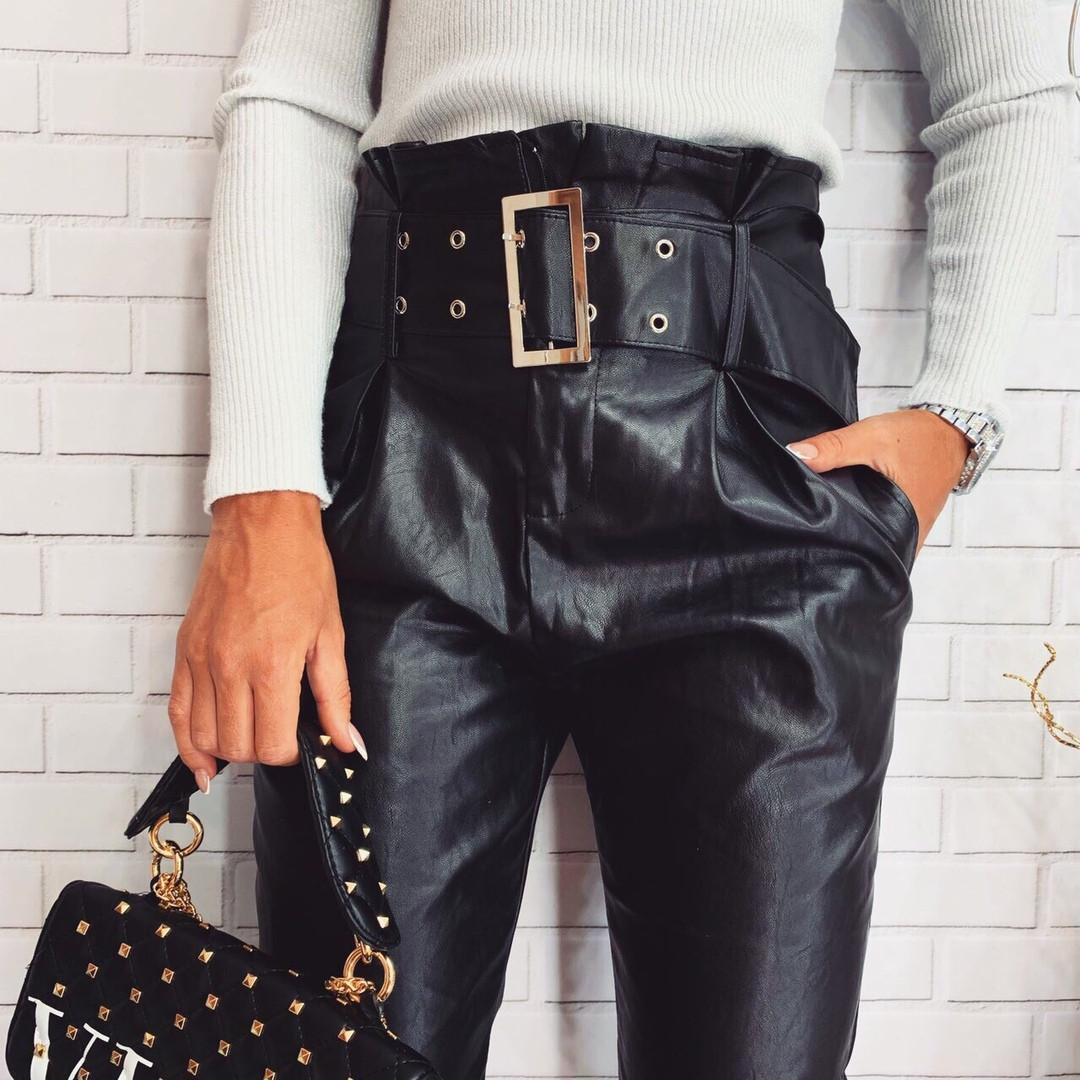 Кожаные женские брюки аф3240