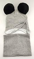 Детская шапка теплая 46 48 50 размер детские шапки помпонами на завязках зимняя флисом