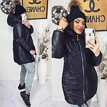 Зимова куртка з капюшоном з ультрамодною плащовки сільвер з блискучим напиленням р. 42-44, 46-48 код 3296Ф