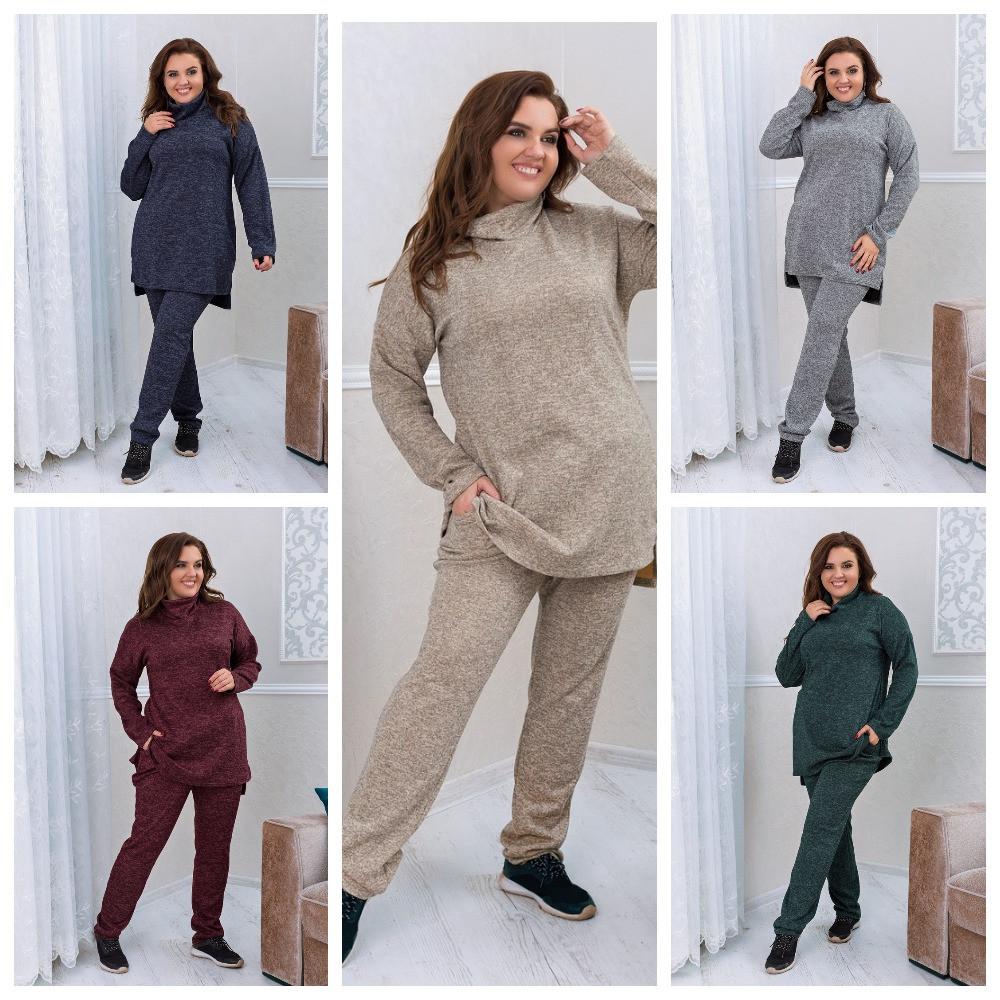 Тёплый удобный костюм туника+штаны, р.52-54, 56-58, 60-62 код 3299Ф