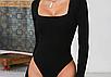 Женское боди Forefair Natali с длинными рукавами, обтягивающий, квадратный вырез white, фото 4