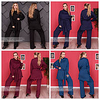 Стильный костюм из трикотажа вязки - туника и брюки, 48-50, 52-54, 56-58, 60-62 код 3268Ф