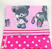 Комплект  Мишка на розовом  в детскую кроватку/садик с резинкой и без, бязь