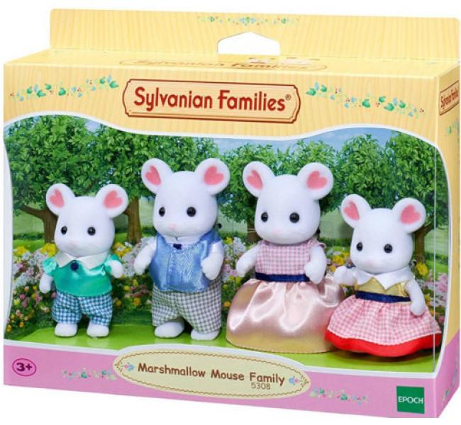 Игровой набор Sylvanian Families семья белых мышей Calico Critters White Mouse Family