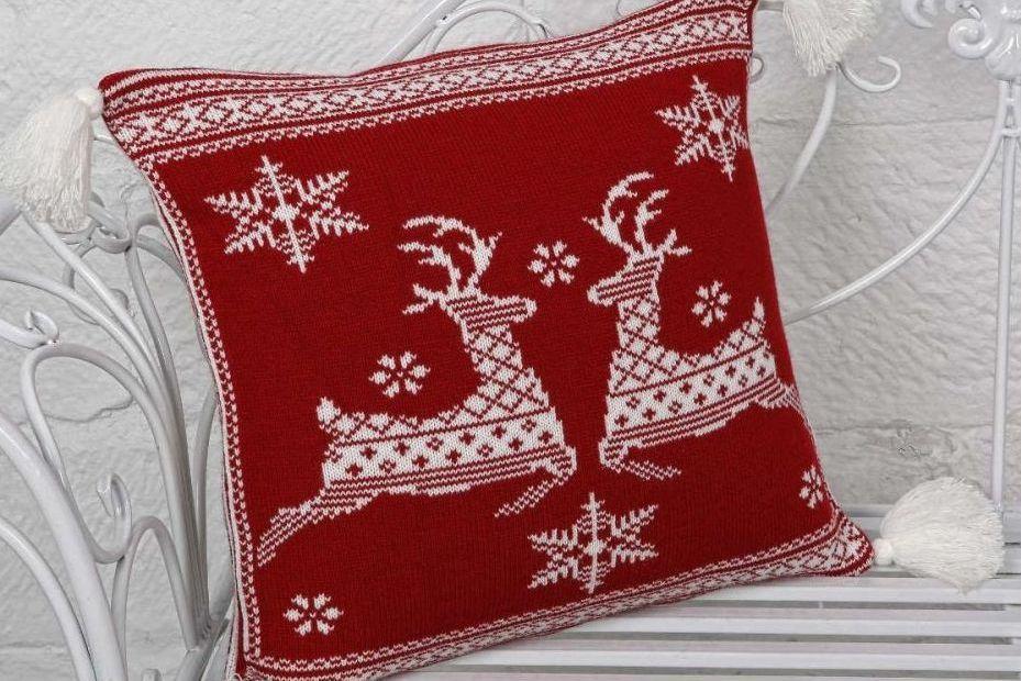 Наволочка декоративная 45х45 новогодняя BETIRES Noella красная