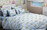Комплект Совы на голубом в детскую кроватку/садик с резинкой и без, бязь