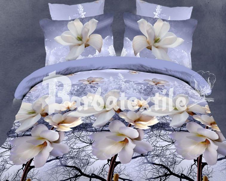 Евро размер постельное белье с белыми цветами «Ранфорс 073»