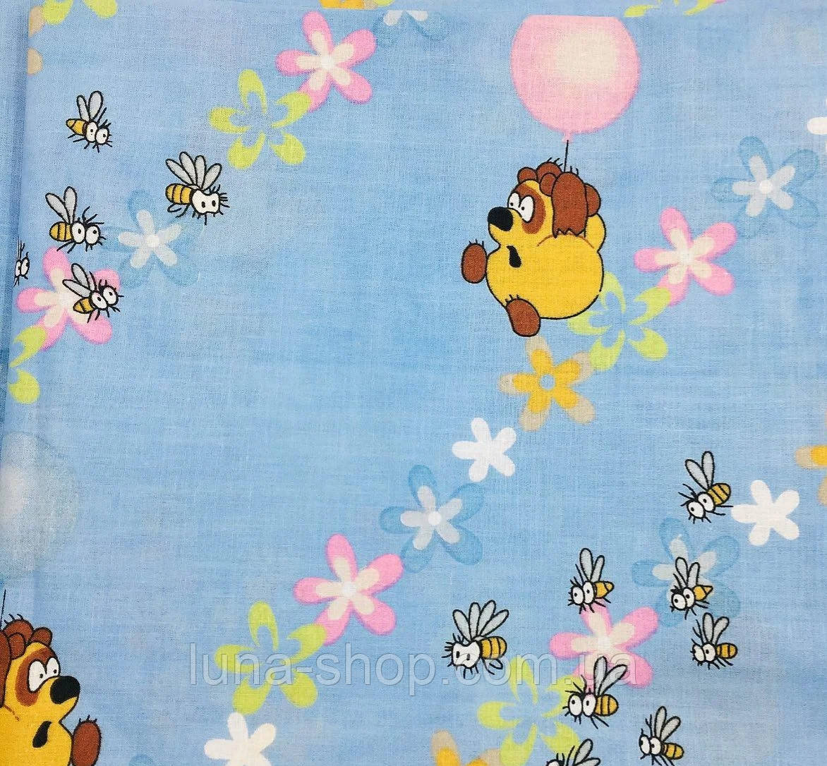 Комплект Вінні на блакитному в дитячу ліжечко/садок з гумкою і без, бязь