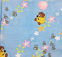 Комплект Вінні на блакитному в дитячу ліжечко/садок з гумкою і без, бязь, фото 1