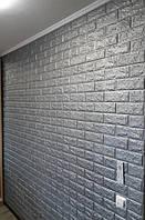 Самоклеющаяся декоративная 3D панель под кирпич серебро 700x770x7мм. Декоративная 3д панель под кирпич