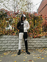 Зимовий чоловічий спортивний костюм чорний з білим, фото 1