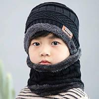 Теплый детский набор шапка+хомут